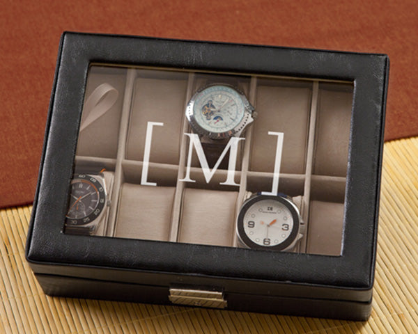 Personalized Black Leather Watch Box and Watch Case