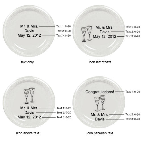 "Personalized 7"" Plastic Round Wedding Plates"