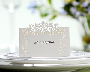 Fanciful Rose Rose-Vine Placecards (Pack of 50, Ivory)