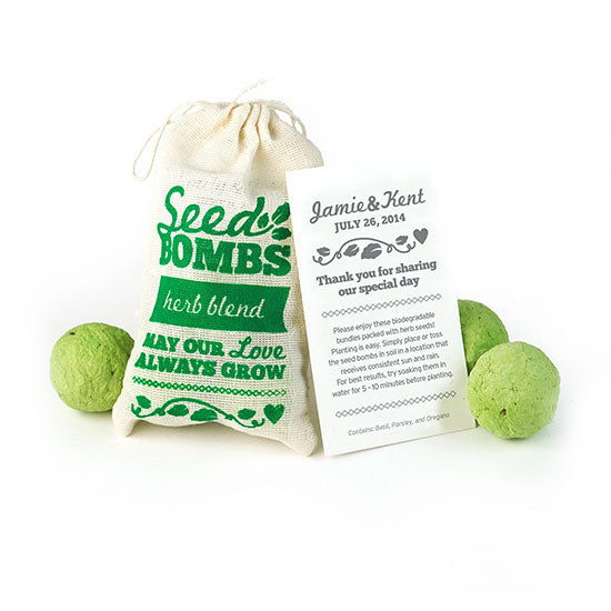 Herb Seed Bombs Favor with Personalized Card