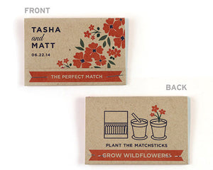 Personalized Rustic Wildflower Seed Paper Matchbook Eco-Friendly Favor