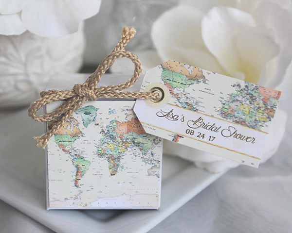 Personalized World Map Favor Box