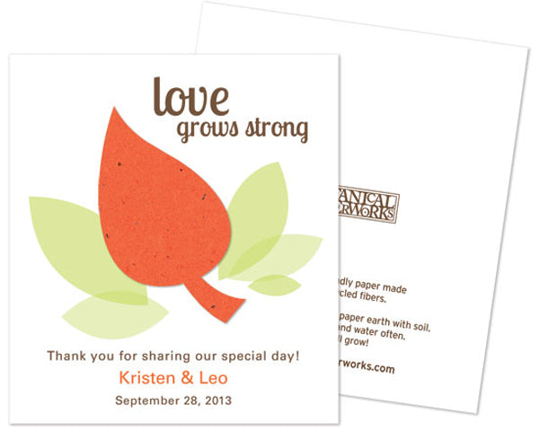 Leaf Plantable - Personalized Seed Paper Favor - Wedding Favor