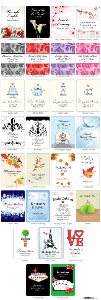 Personalized Wedding Tea Favors (Many Designs Available)