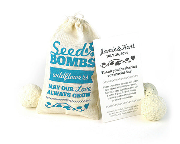 Wildflower Seed Bombs Favor with Personalized Card Wedding Favor