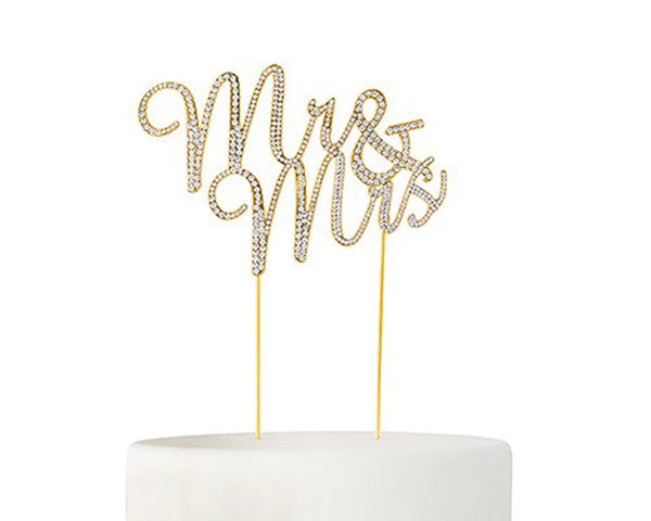 Crystal Rhinestone Mr & Mrs Cake Topper (Available in Gold & Silver)