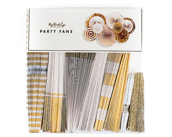 Gold Foil Paper Fan Party Decorations (Assorted Pack of 8)