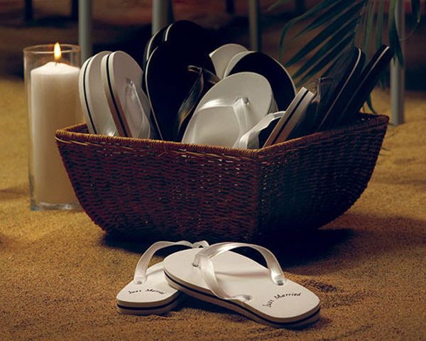 Just Married Black Honeymoon Flip Flops For Him