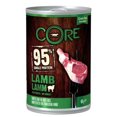 Wellness Core 95% Lamb with Pumpkin Wet Adult Grain Free Dog Food 6 x 400g