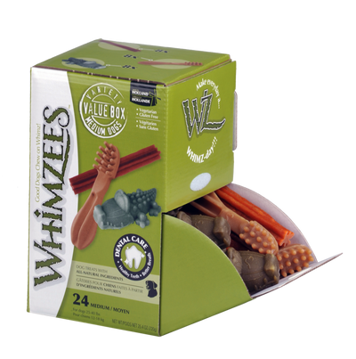 Whimzees Variety Box Dental Treat For Medium Dogs 24 Pack