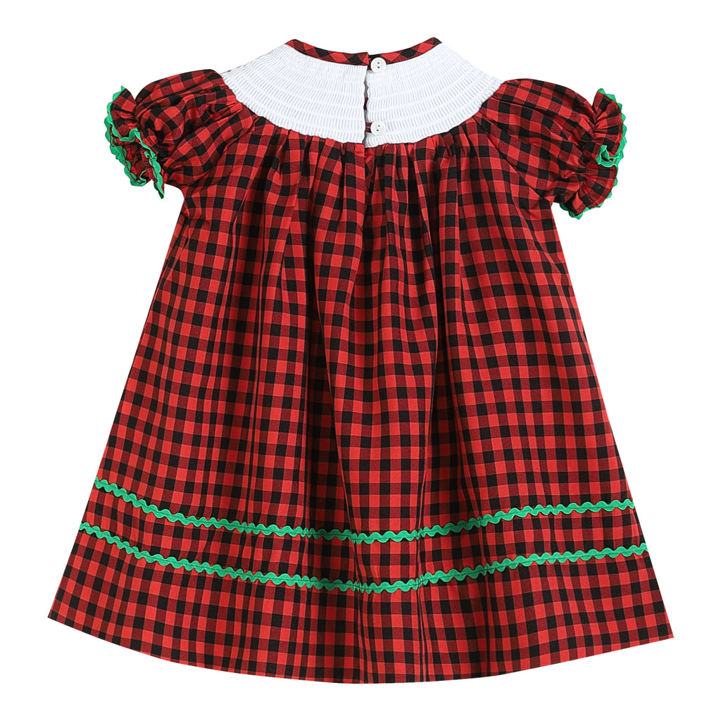 Red Gingham Joy Smocked Dress