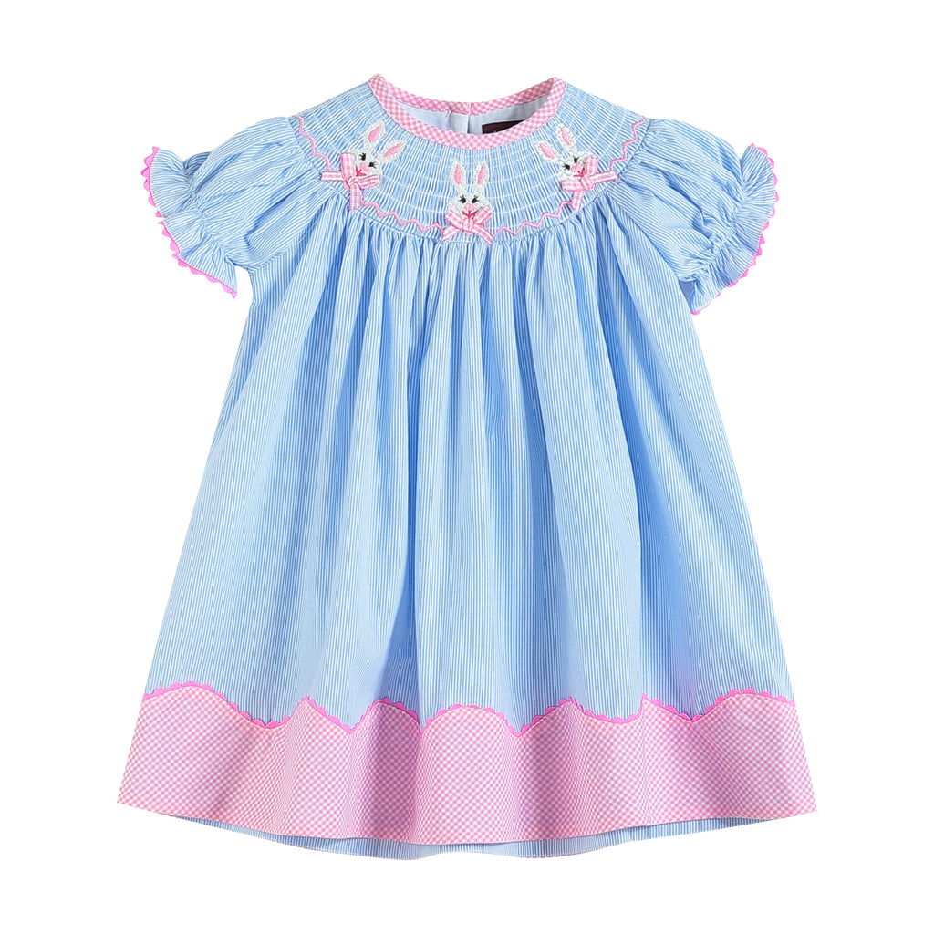 Blue and Pink Bunny & Bows Smocked Bishop Dress