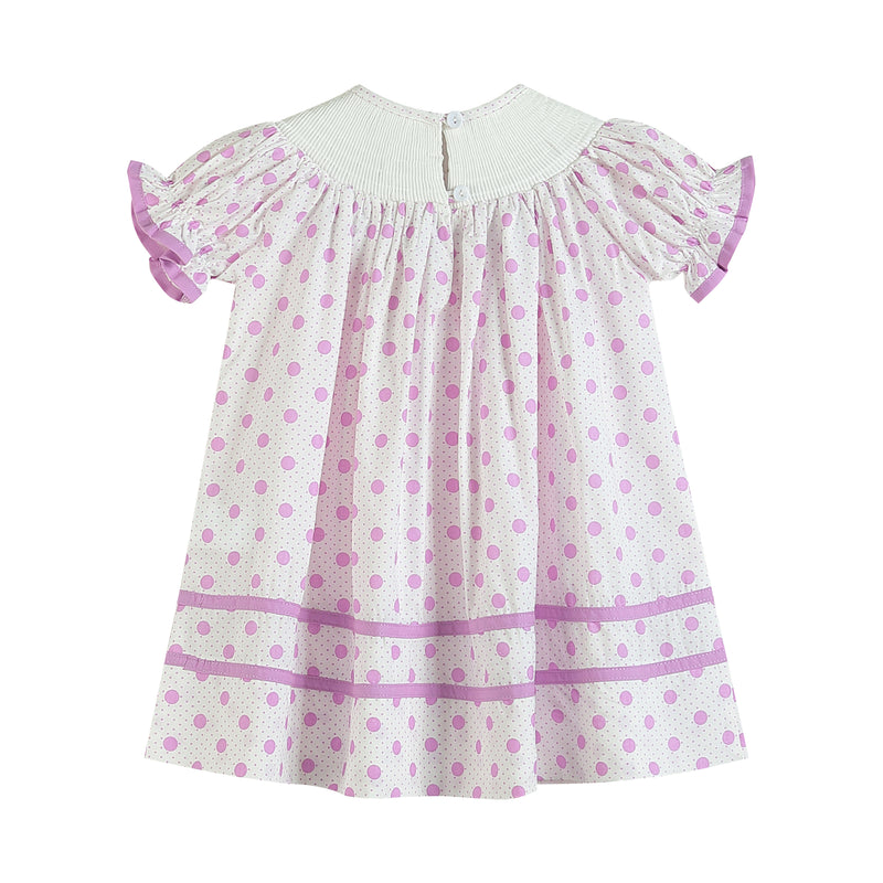 Pink + Purple Polka Dot & Bunny Smocked Bishop Dress