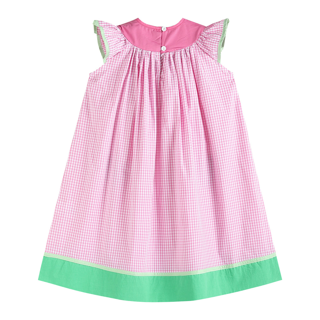 Pink and Green Smocked Watermelon Bishop Dress