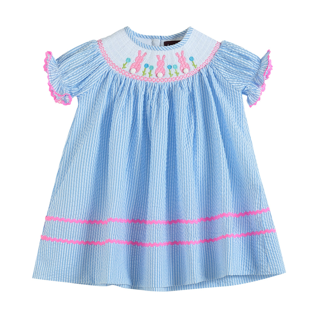 Light Blue Seersucker Bunny Smocked Bishop Dress
