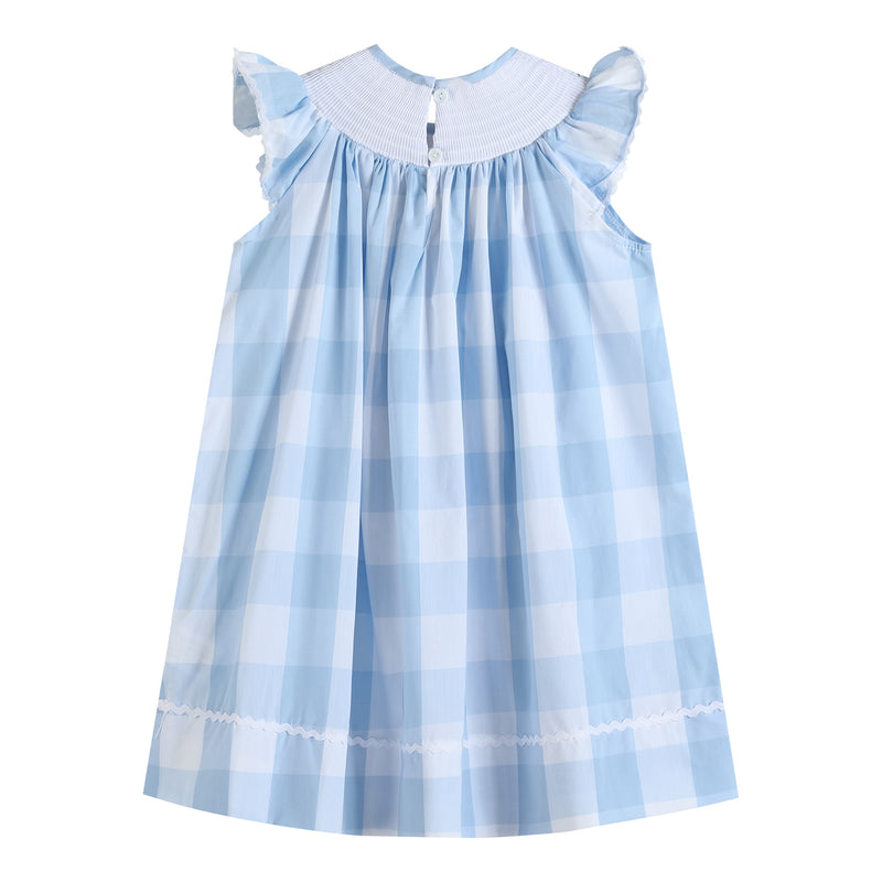 Blue Gingham Bunny Smocked Bishop Dress