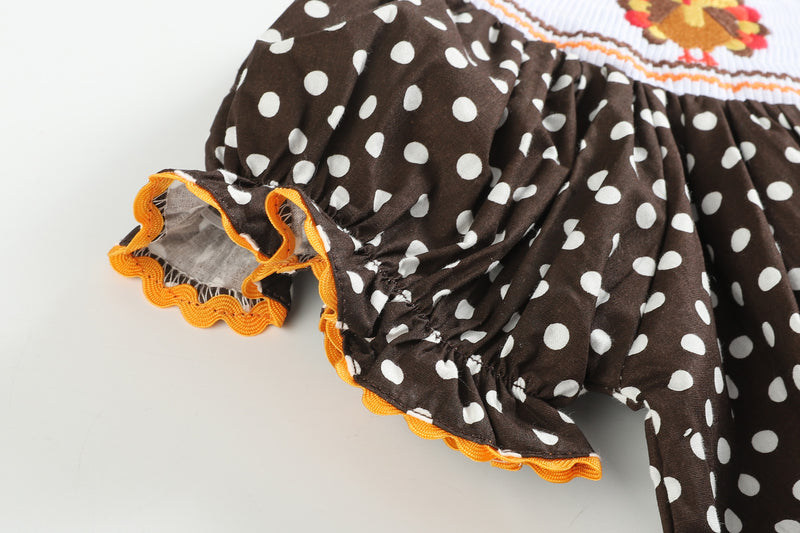 Brown Polka Dot Dress Turkey Smocked Bishop Dress