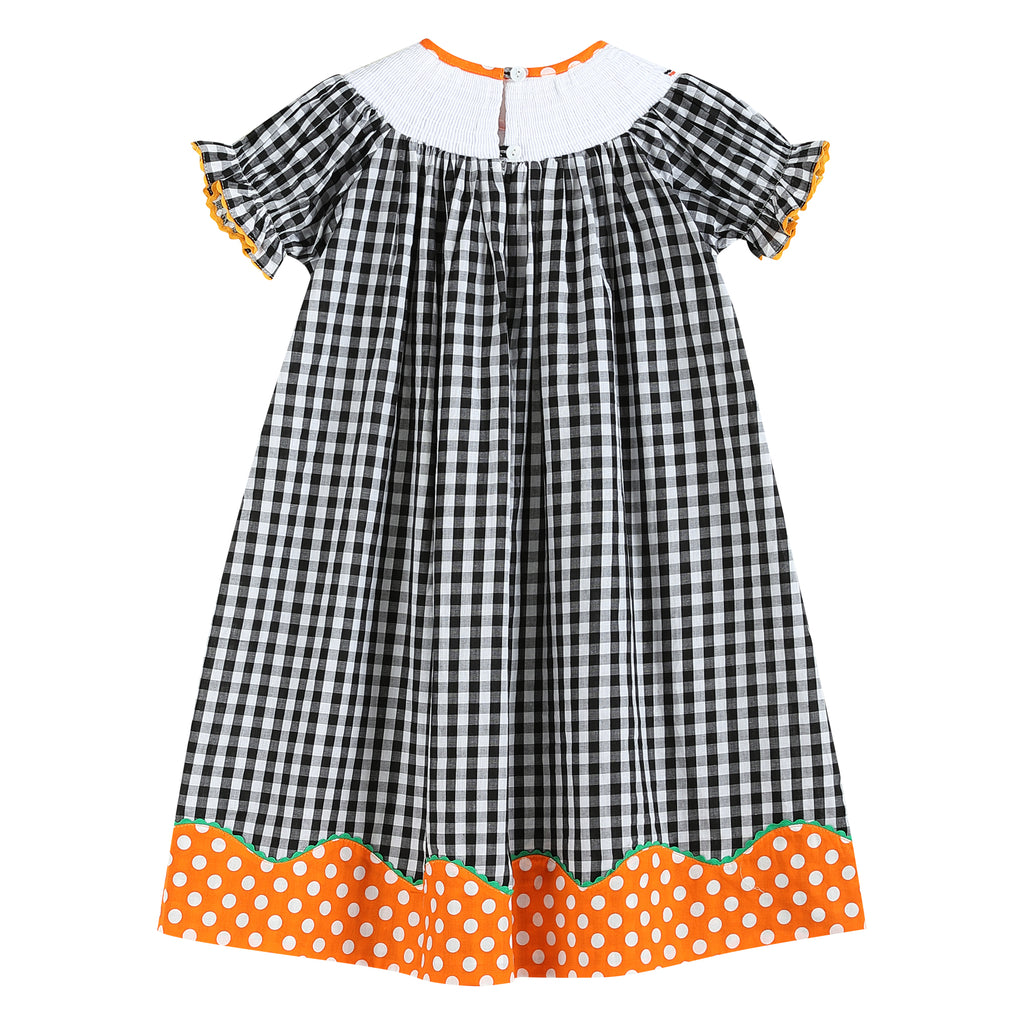 Lil Cactus Black Gingham 'Booo' Hat Smocked Dress