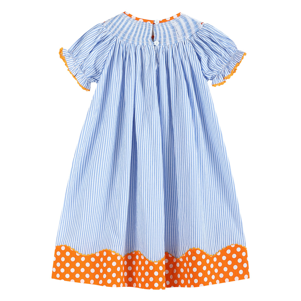 Light Blue Stripe Turkeys Smocked Dress