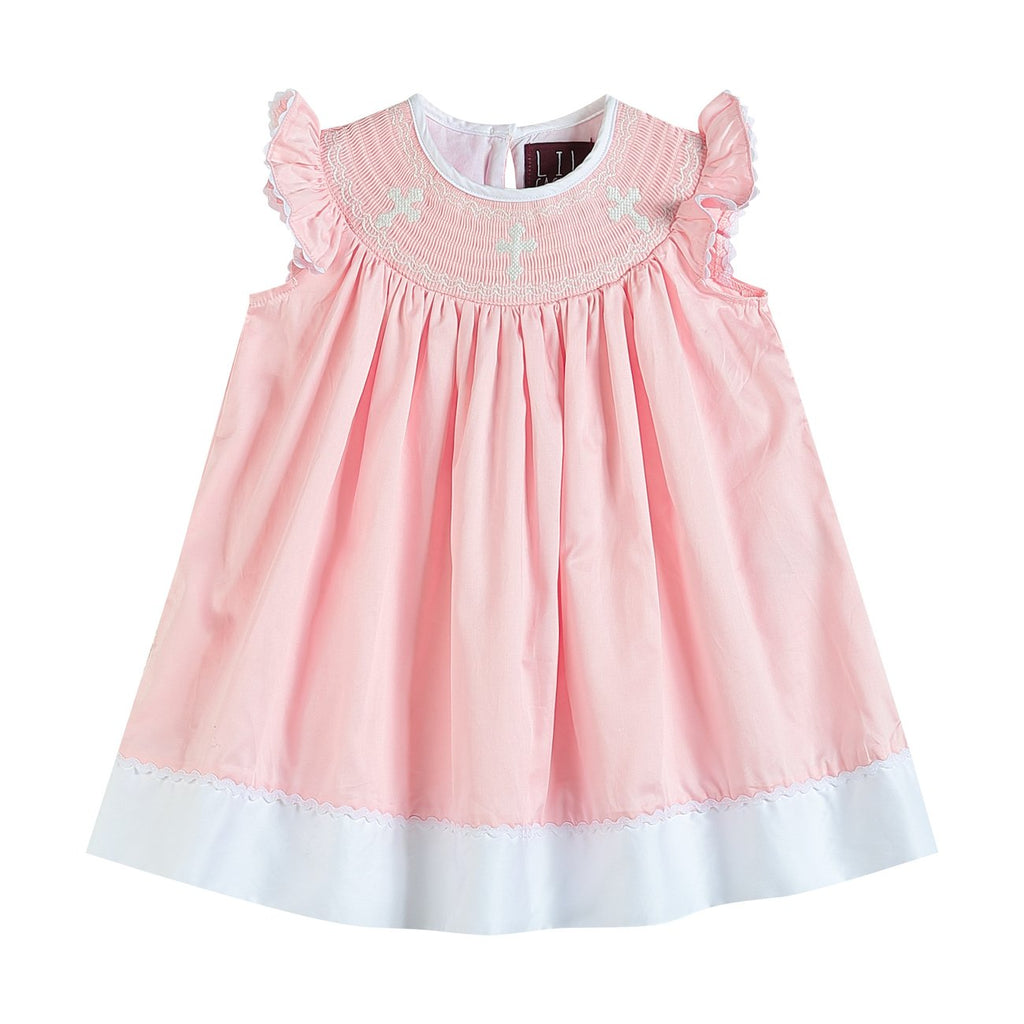 Light Pink Three Crosses Smocked Bishop Dress