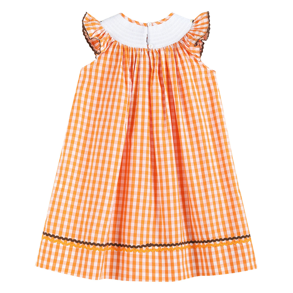 Orange Gingham Smocked Bishop Dress with Scarecrow and Pumpkins