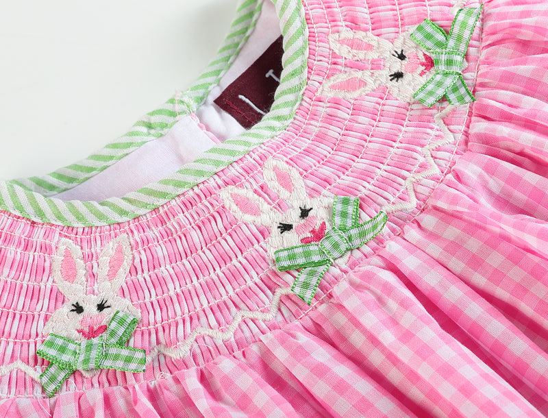 Pink Gingham Bunnies Smocked Bishop Dress