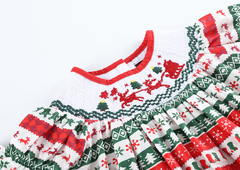 Red and Green Christmas Striped Smocked Bishop Dress
