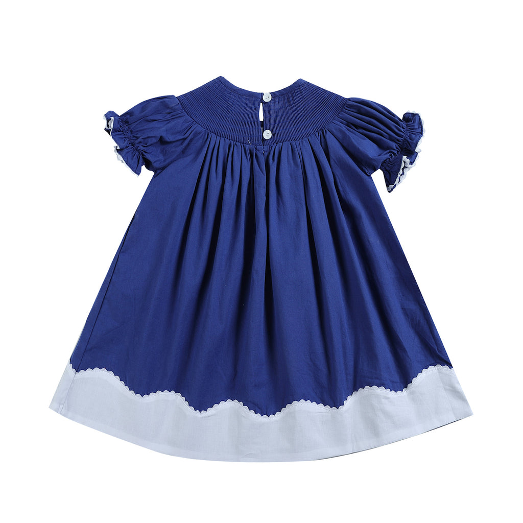 Royal Blue Christmas Nativity Smocked Bishop Dress