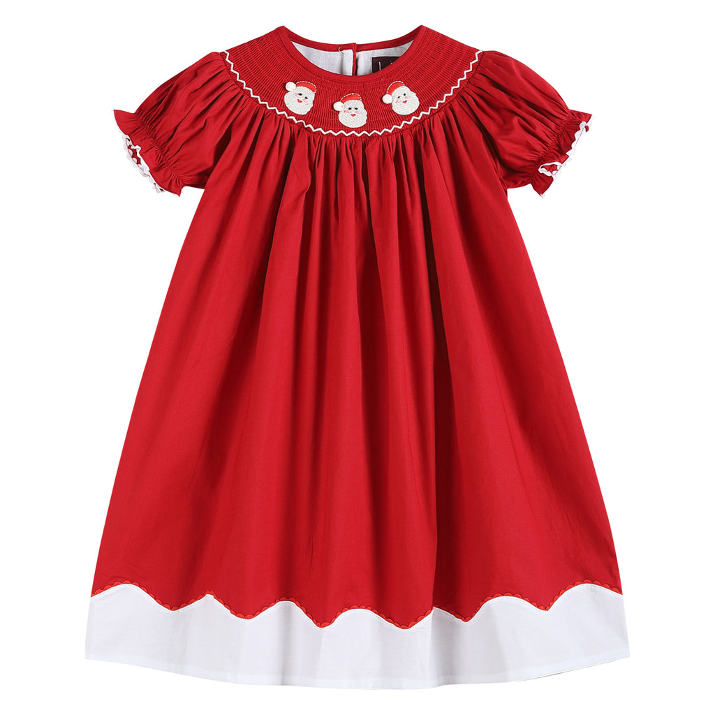 Red and White Santa Smocked Bishop Dress