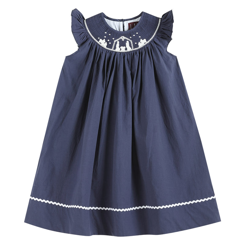 Navy Blue Nativity Smocked Christmas Dress