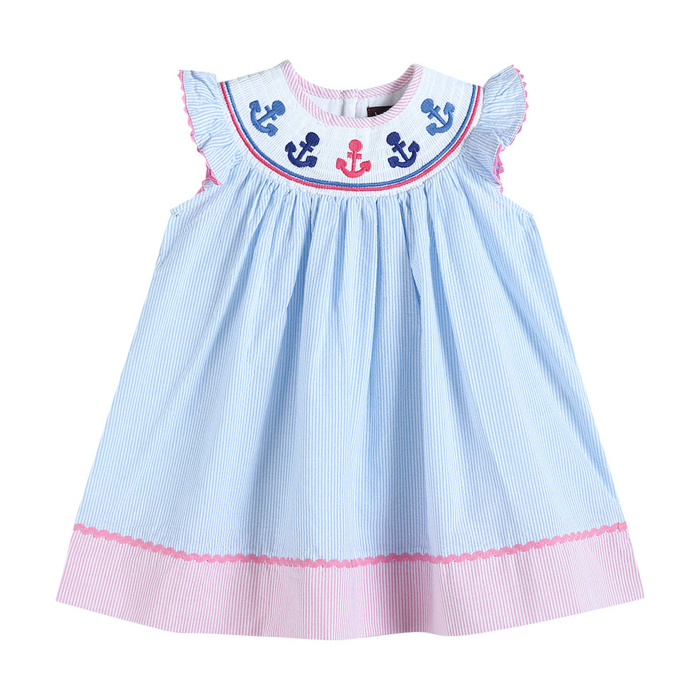 Pink and Blue Striped Smocked Bishop Dress with Anchor Embroidery