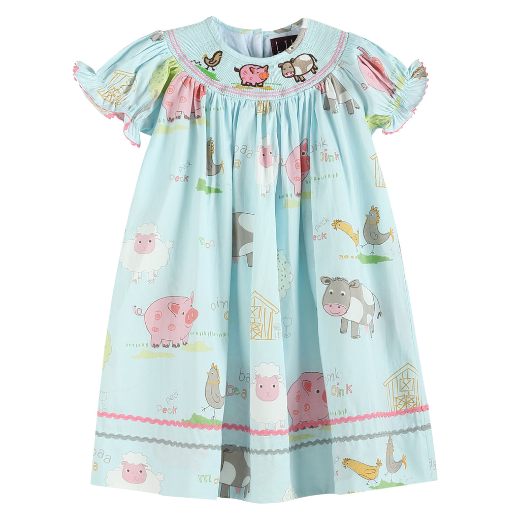Light Blue Animal Farm Smocked Dress