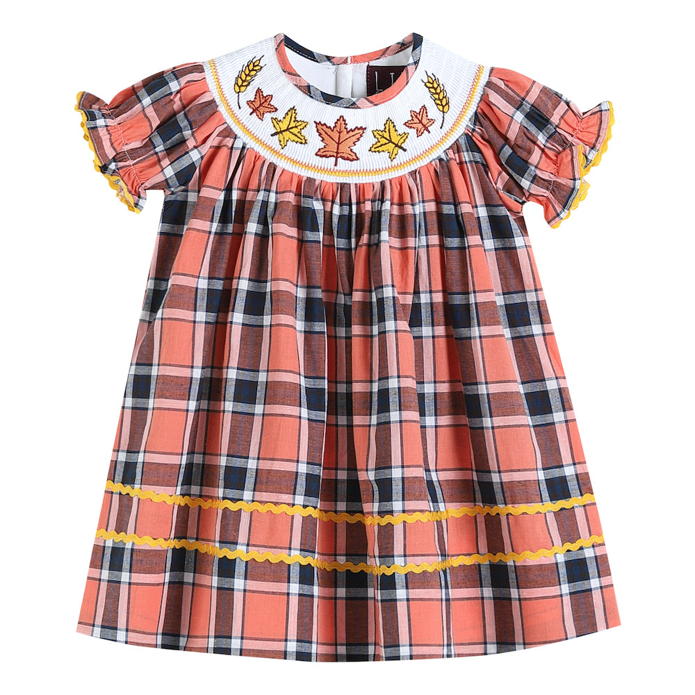 Orange Plaid Smocked Dress with Leaves