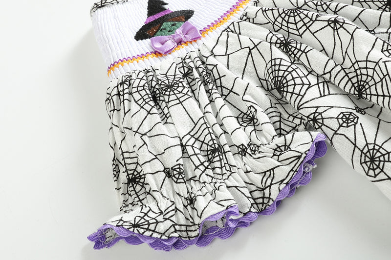 Halloween Bishop Dress Smocked with Spider Web and Bats