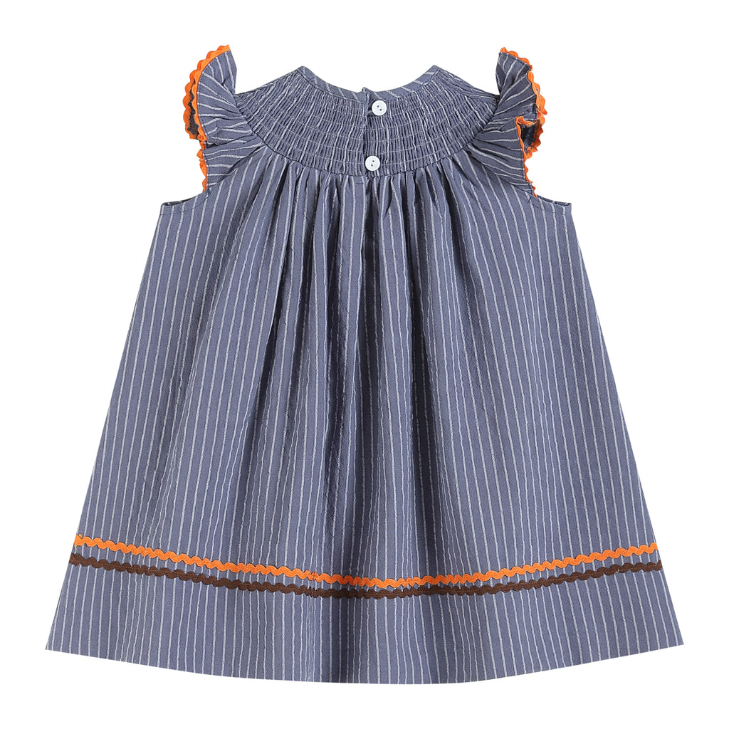 Gray Blue Smocked Turkey & Pumpkins Thanksgiving Dress