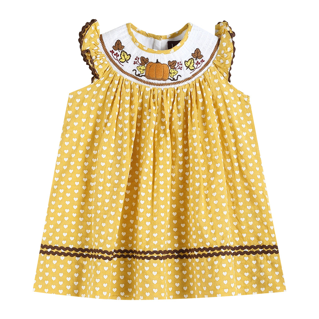 Heart Print Smocked Dress with Pumpkin