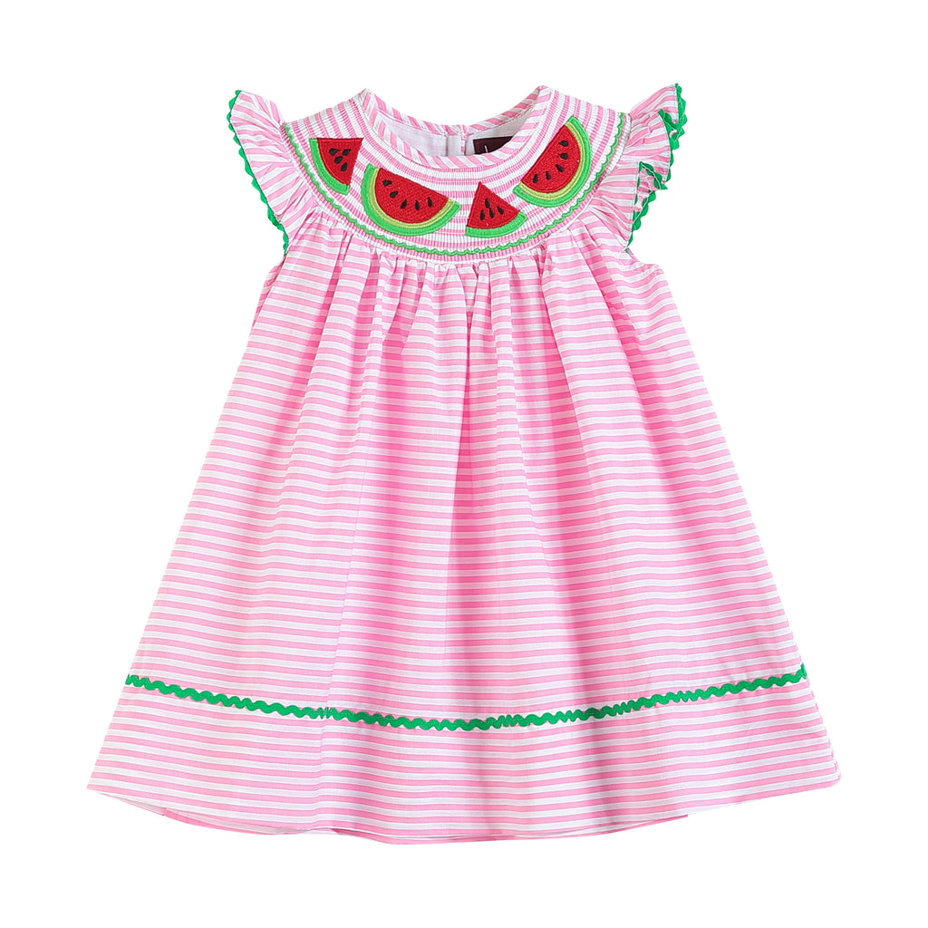 Pink Stripe Smocked Watermelon Dress