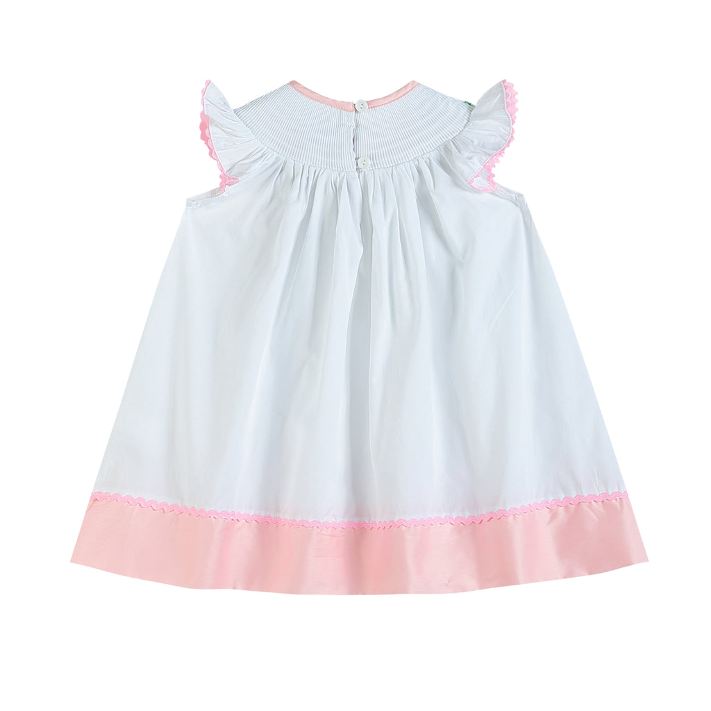 White and Pink Easter Smocked Bishop Dress