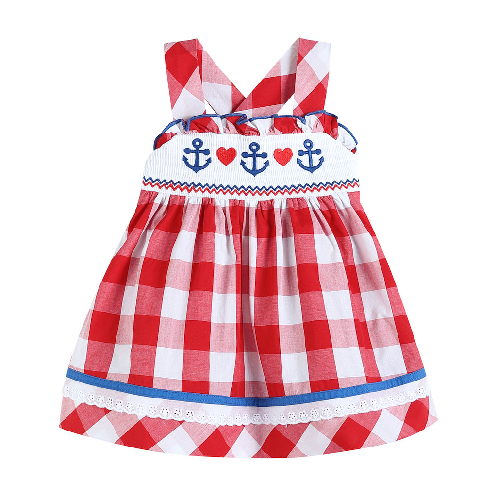 Red Gingham Anchors & Hearts Embroidery Dress