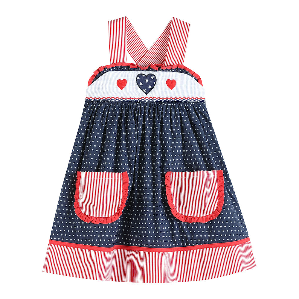 Navy and Red Americana Dress