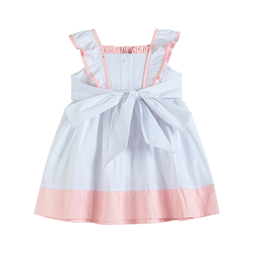 White and Pink Bunnies and Flowers Ruffle Dress