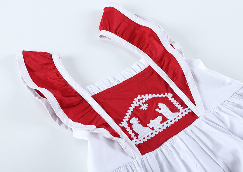 Red and White Christmas Nativity Ruffle A-Line Dress