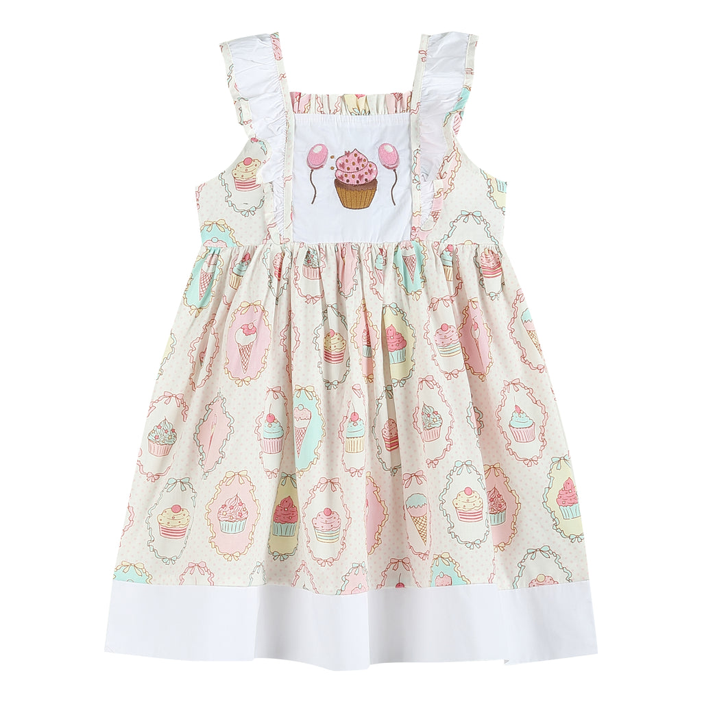 Pink Cupcake Treats Ruffle A-Line Dress