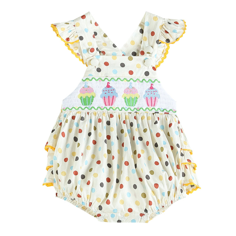 Birthday Cupcake Bubble Ruffle Romper