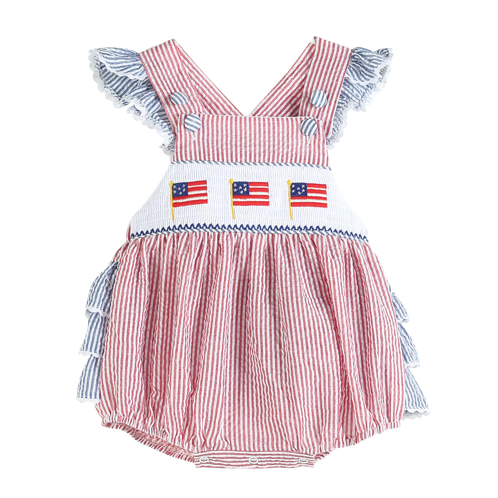 Red & Blue Seersucker American Flag Smocked Bubble Romper