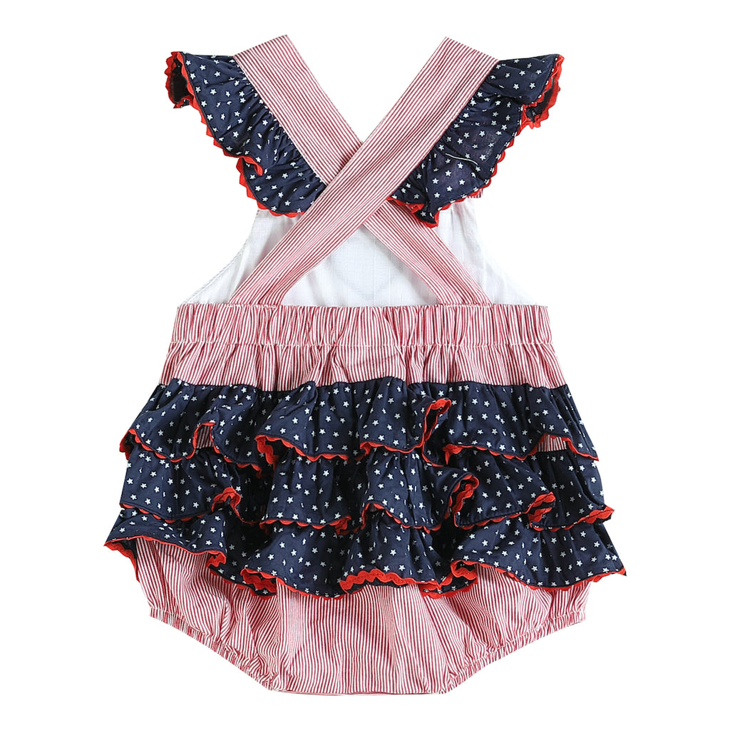 Blue and Red Americana Heart Smocked Bubble Romper
