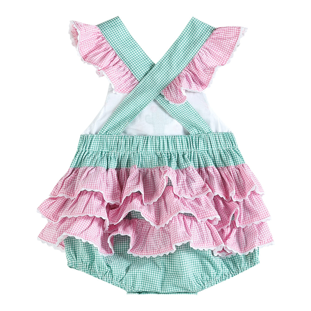 Green and Pink Cactus Smocked Bubble Ruffle Romper