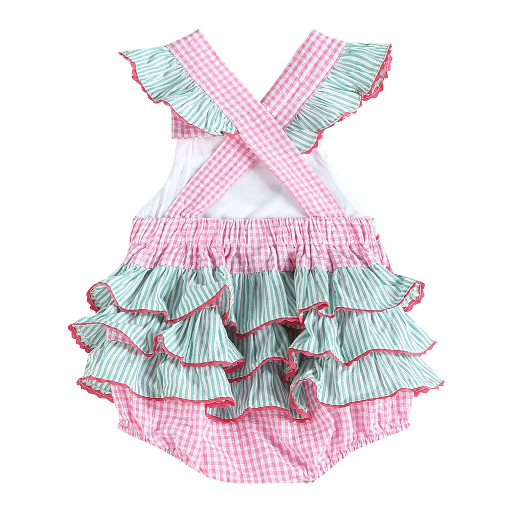 Pink and Green Watermelon Smocked Bubble Ruffle Romper