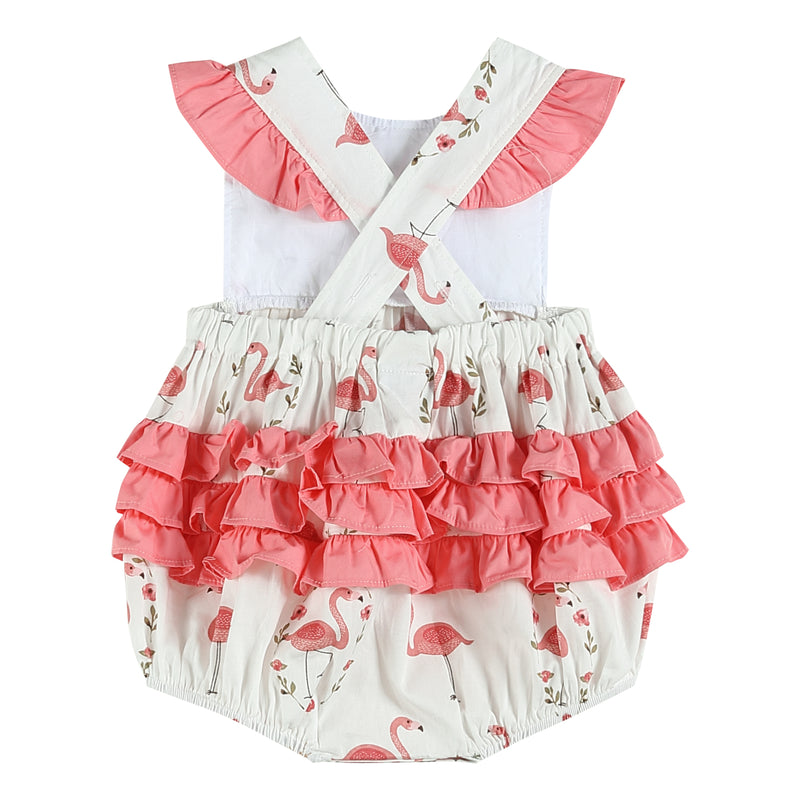 White & Pink Flamingo Ruffle Bubble Bodysuit