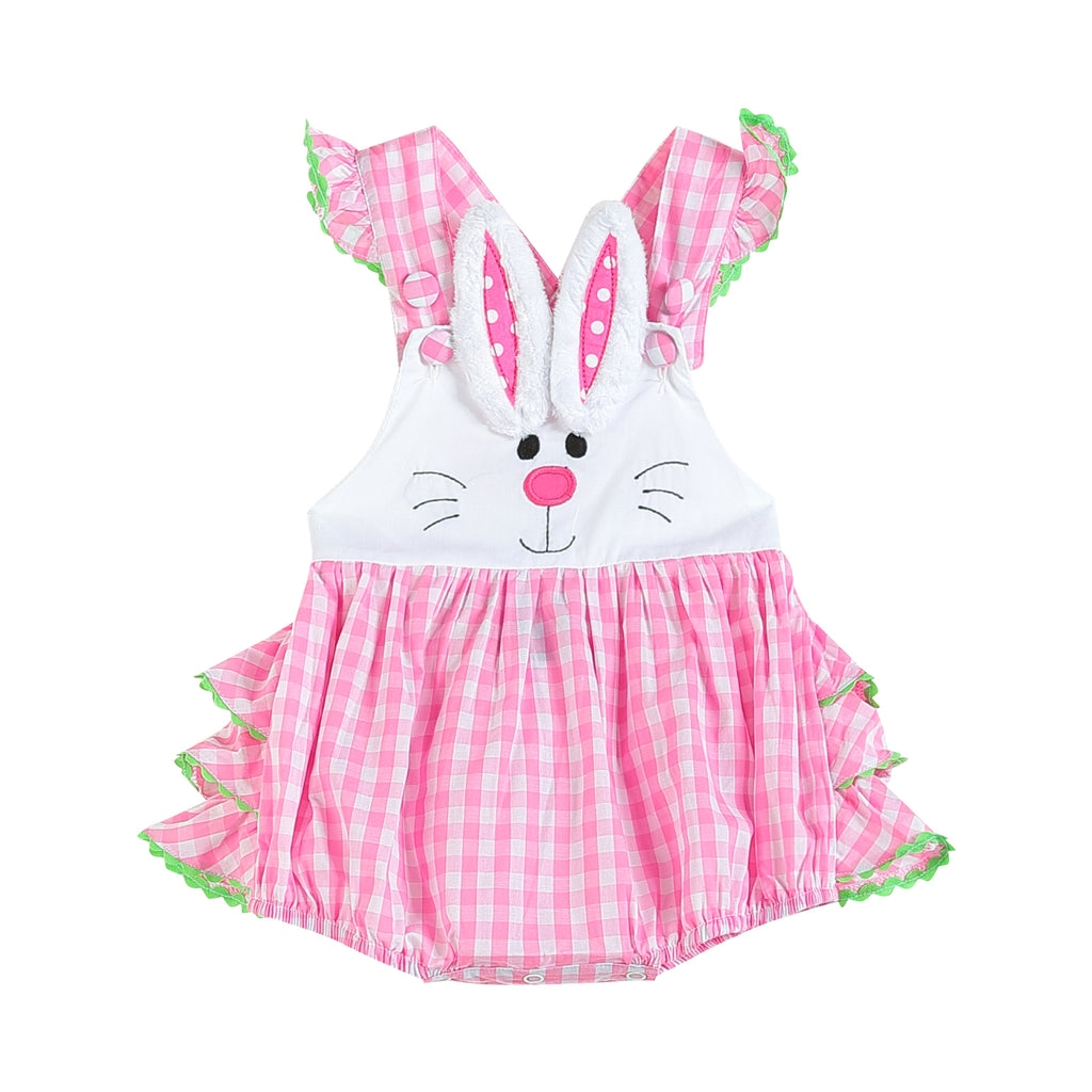 Pink Bunny Face Gingham Bubble Ruffle Romper